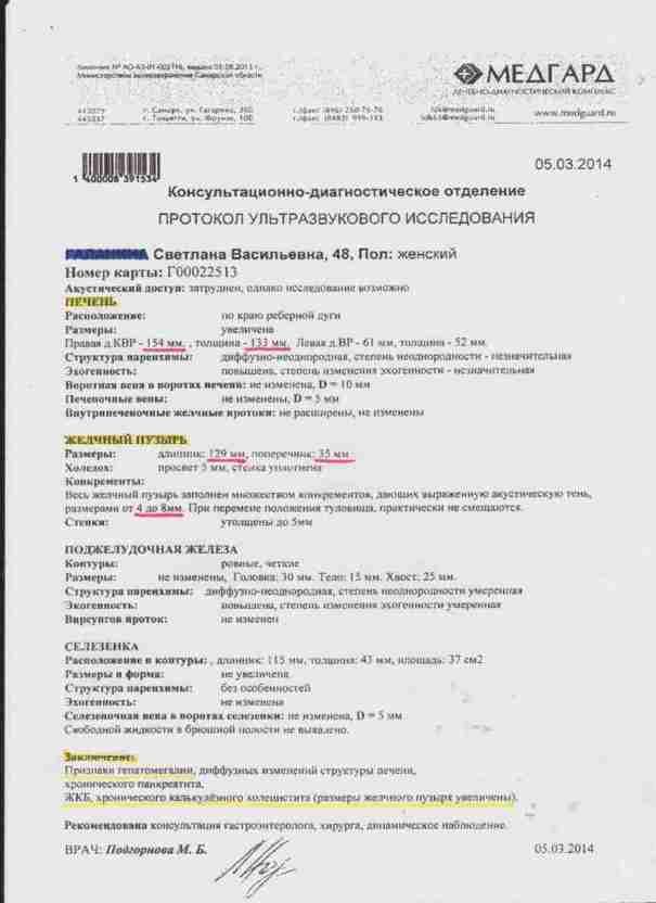 УЗИ от 05.03.2014г. перед применением пояса Эсилан