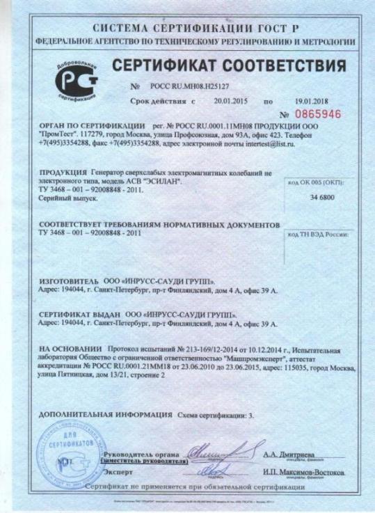 Сертификат на пластины Эсилан
